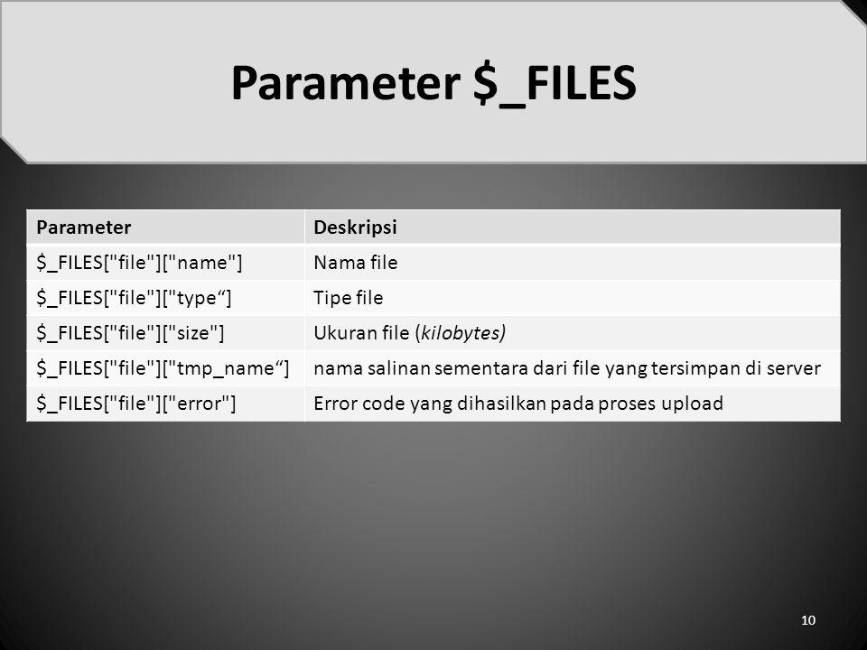 Parameter $_FILES Parameter Deskripsi $_FILES[ file ][ name ]